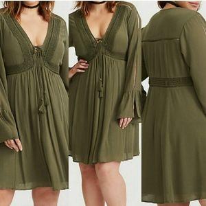 Torrid Olive Green Lace-Up Boho Style Dress